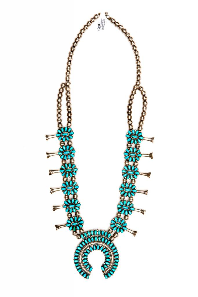 Vintage Turquoise and Coral Squash Blossom Necklace by Victor Moses Begay (Navajo).