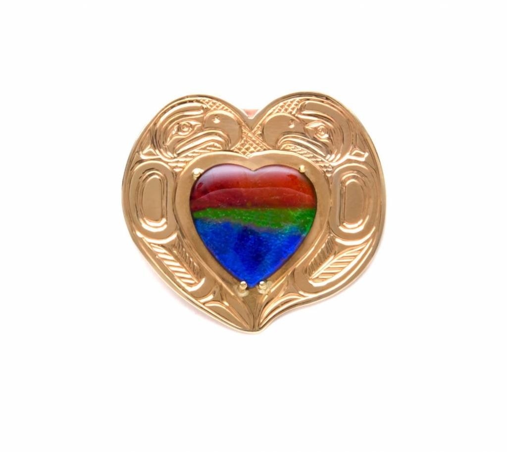 14 Kt Gold with Ammolite Eagle Heart Pendant