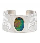 "1 1/4"" Eagle Silver and Ammolite Bracelet by Matilpi Designs."