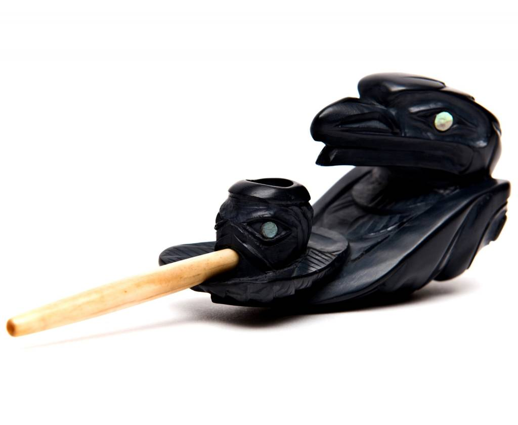 Argillite Raven Tobacco Pipe by Lionel Samuels (Haida)