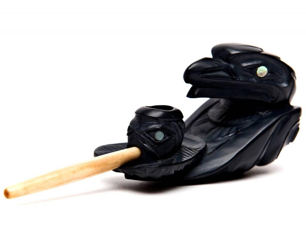 Haida Argillite Raven Tobacco Pipe