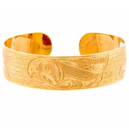"5/8"" Spawning Salmon Bracelet in 14kt Gold by Charles Harper"