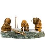 Soapstone Three Inuit Fishermen by Gilbert Daniels