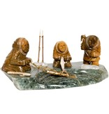 Soapstone Three Inuit Fishermen