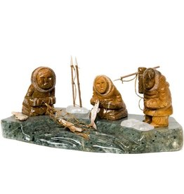 Soapstone Three Inuit Fishermen by Gilbert Daniels