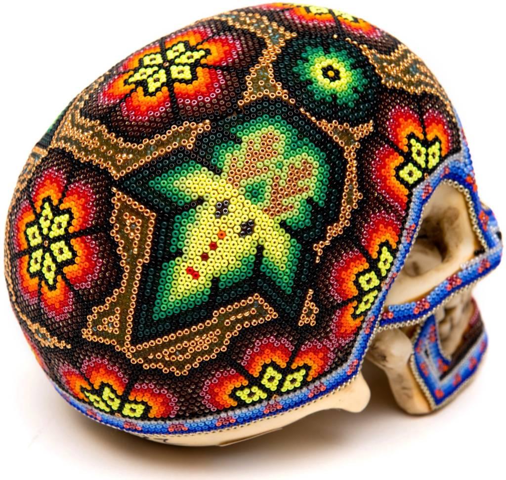 Beaded Ceramic Human Skulls (Huichol).