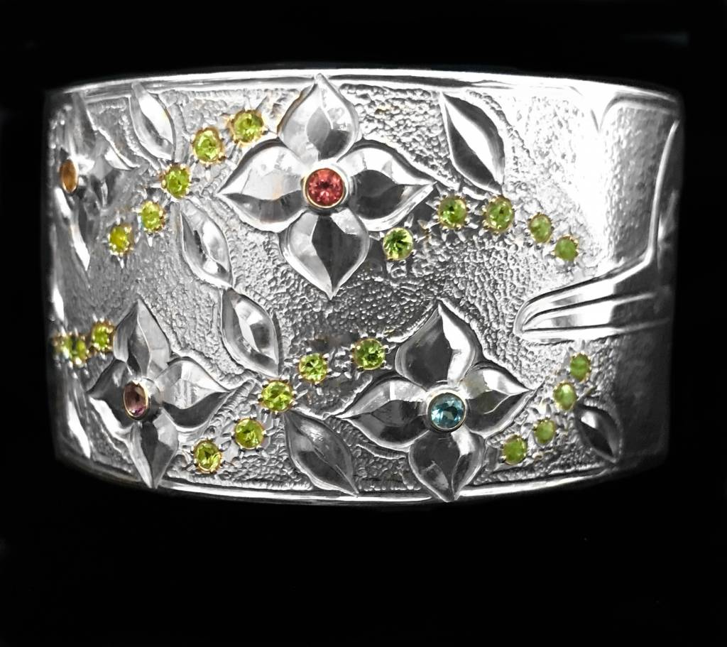 """1 1/8"""" Silver Hummingbird Bracelet with Stones by Matilpi Designs"""