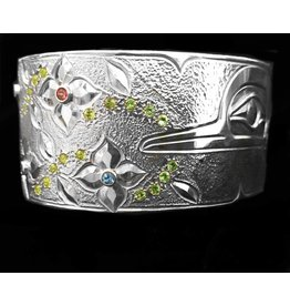 "Silver Hummingbird Bracelet 1 1/8"" Silver Hummingbird Bracelet with Stones"