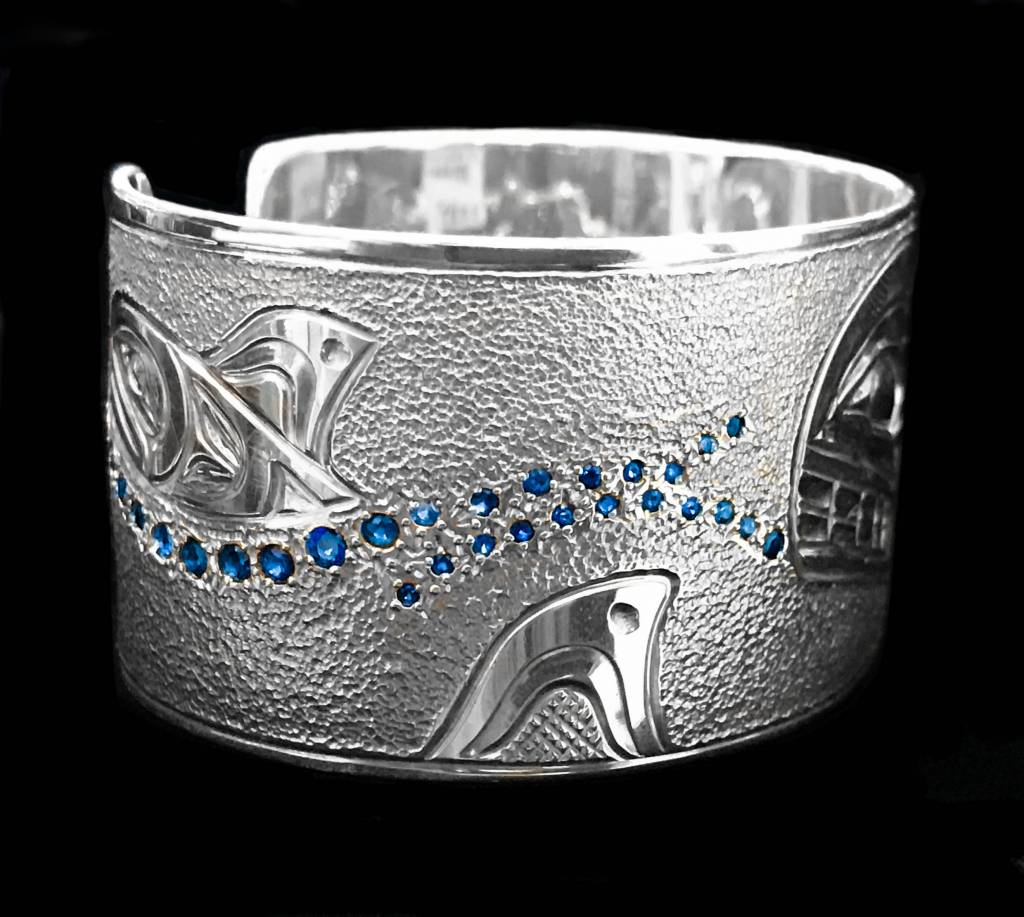 Silver Orca Pod Bracelet with Saphire Waves