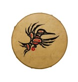 Hand Drum Painted with Hummingbird Design by Keith Morgan (Gitxsan).