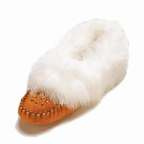 Suede moccasins with rabbit fur trim