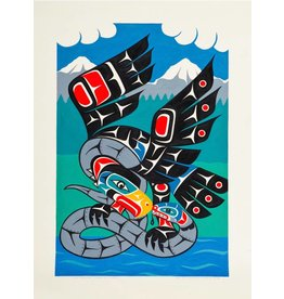 SOLD 'No Pipelines - Eagle and Snake' by Gord Hill