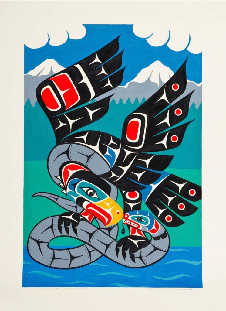 'No Pipelines - Eagle and Snake' by Gord Hill (Kwakwakawakw).