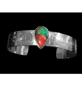 "1/2"" Silver and AA Ammolite Bracelet by Terrence Campbell"