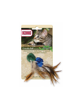 Kong Cat Naturals Crinkle Ball w/ Feathers
