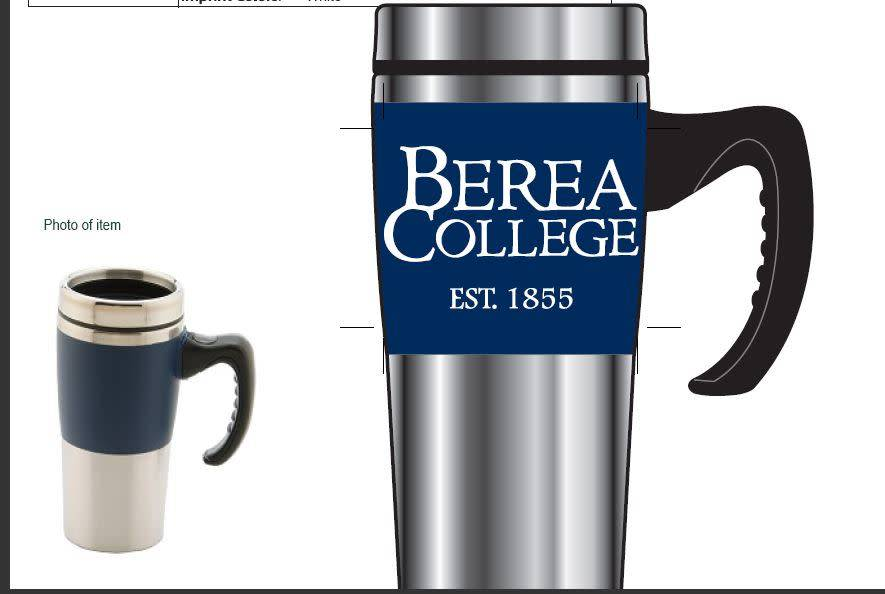 Travel Mug, Silver with Blue Band, 16oz