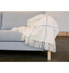 Berea College Crafts Cottage Throw Natural Blue Grid