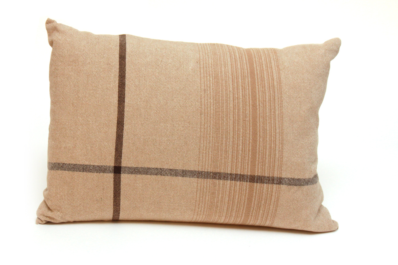 Beige Asymmetrical Stripe Pillow-1