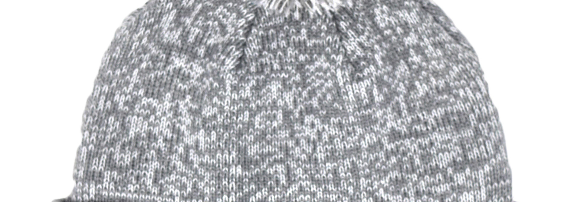 Gray Pom Pom Beanie with Leather BC tag