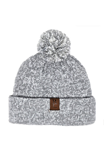Gray Pom Pom Beanie with Leather BC tag