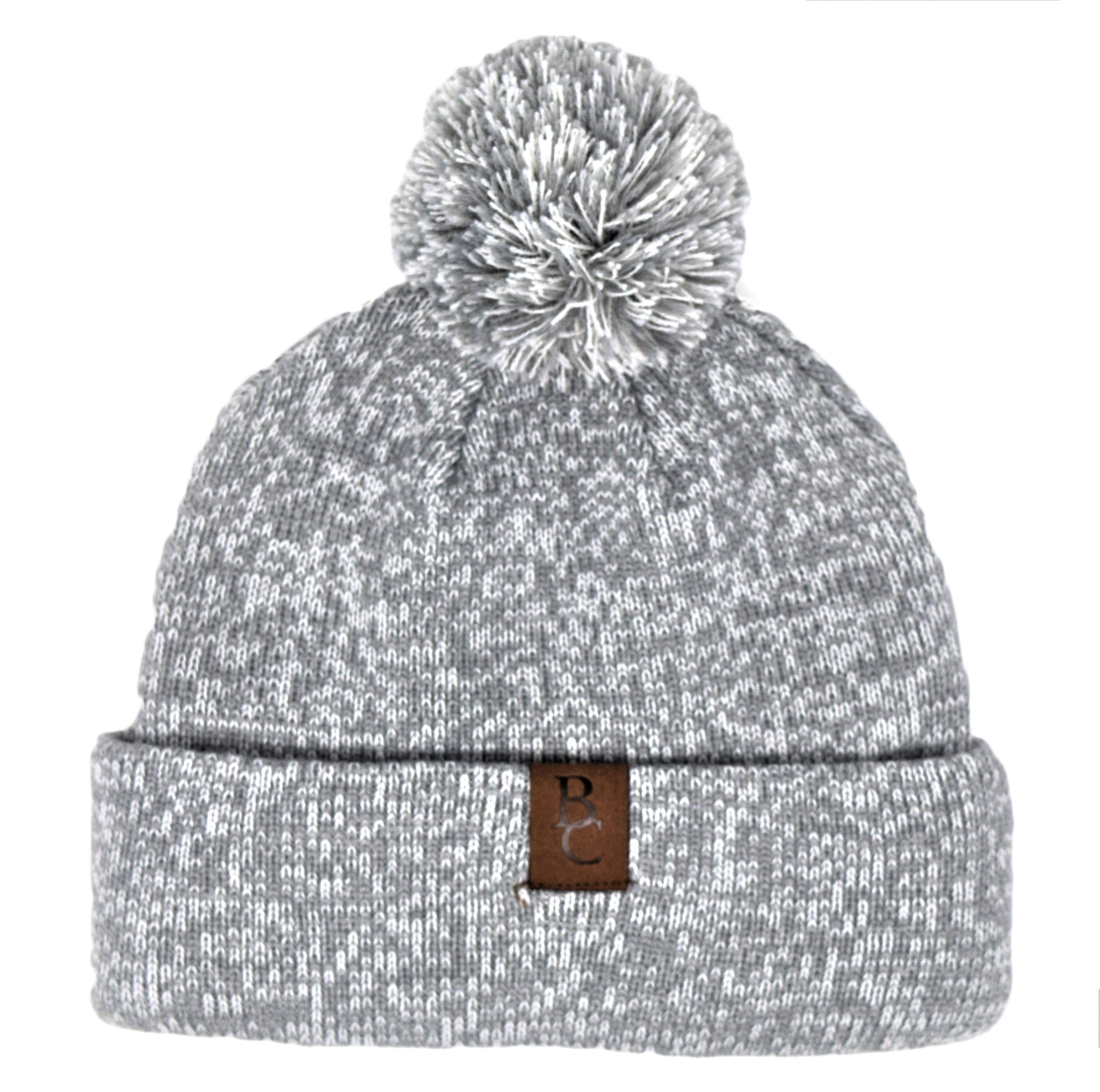 Gray Pom Pom Beanie with Leather BC tag-1