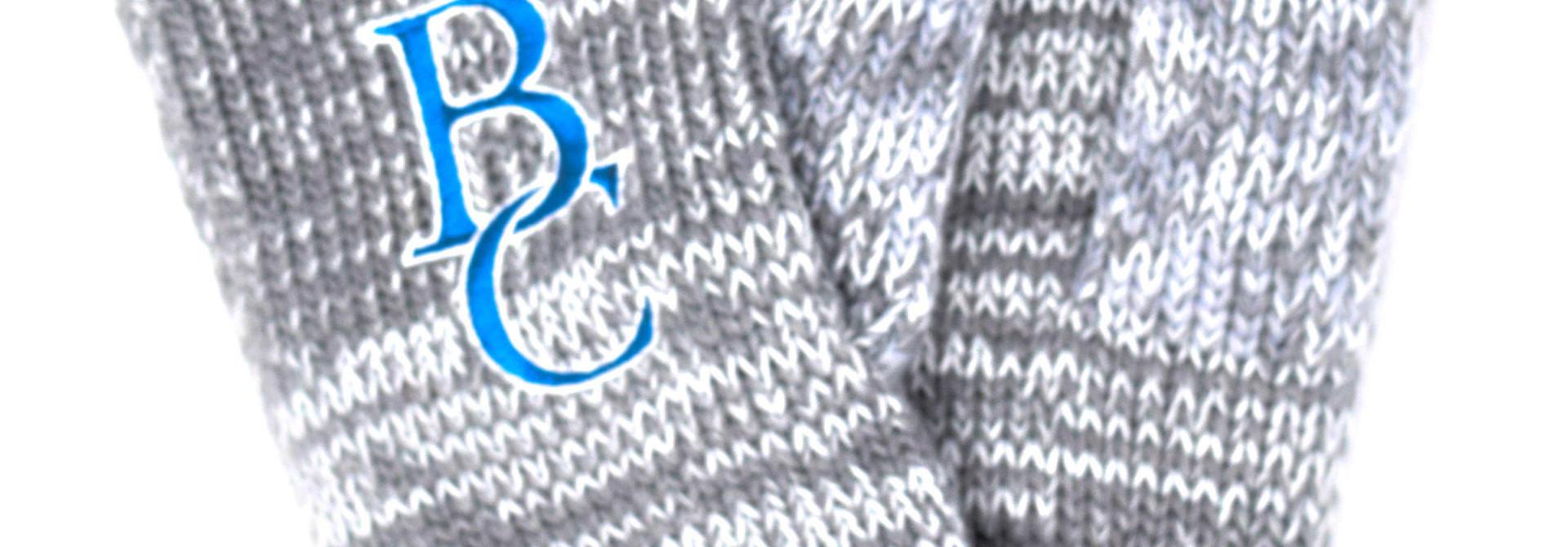 Mittens, Gray, Blue Stripe, BC