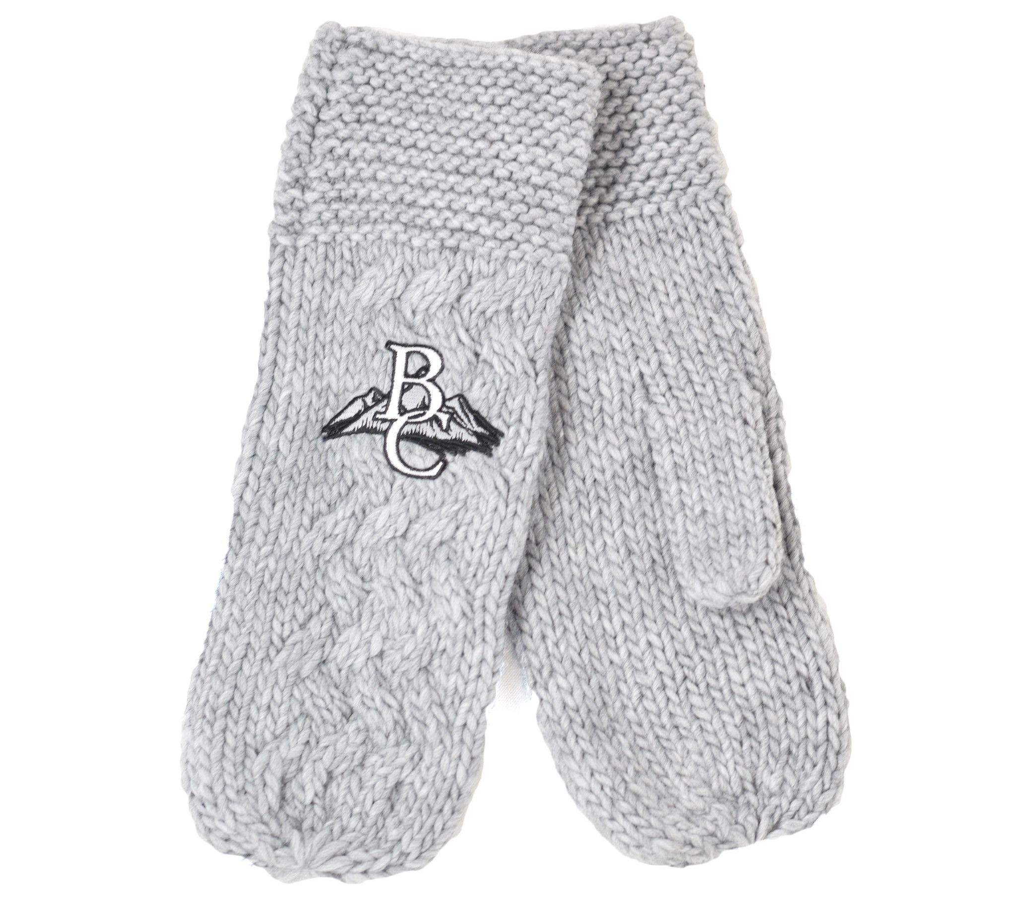 Heather Gray Mittens with  BC on mountains-1
