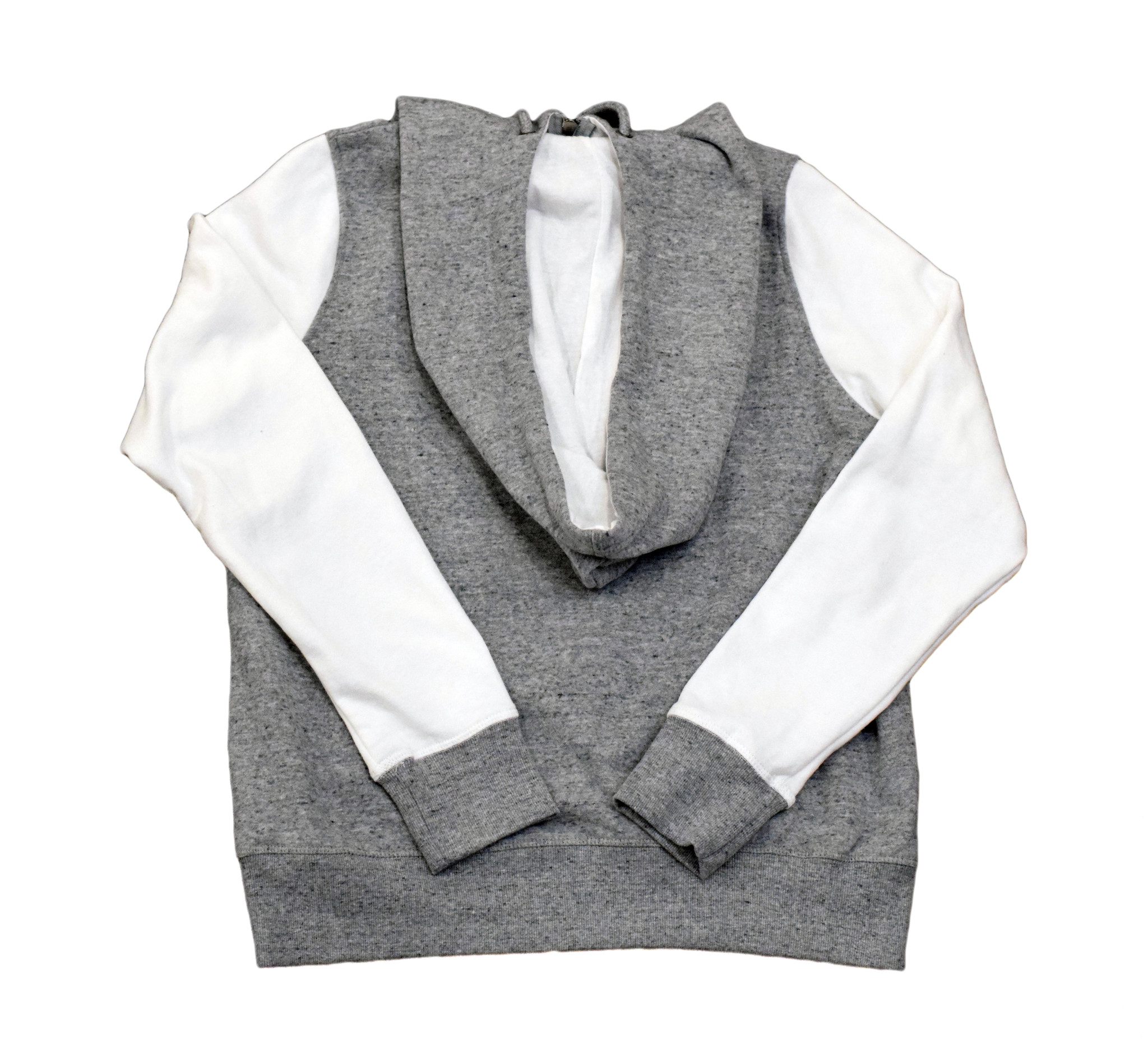 Gray Hoodie with Cream sleeves-3
