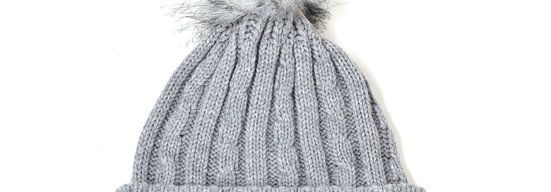 Gray Beanie Faux Fur Pom with BC on mountains
