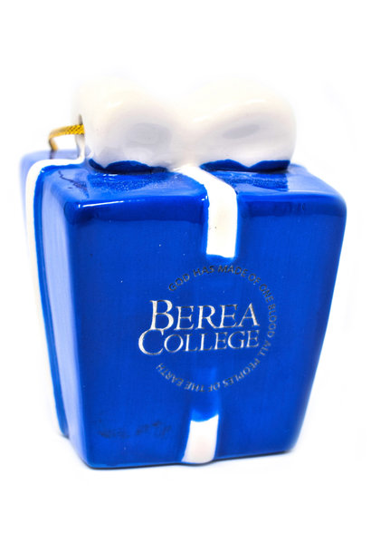 Ceramic Blue and White Berea Present Ornament