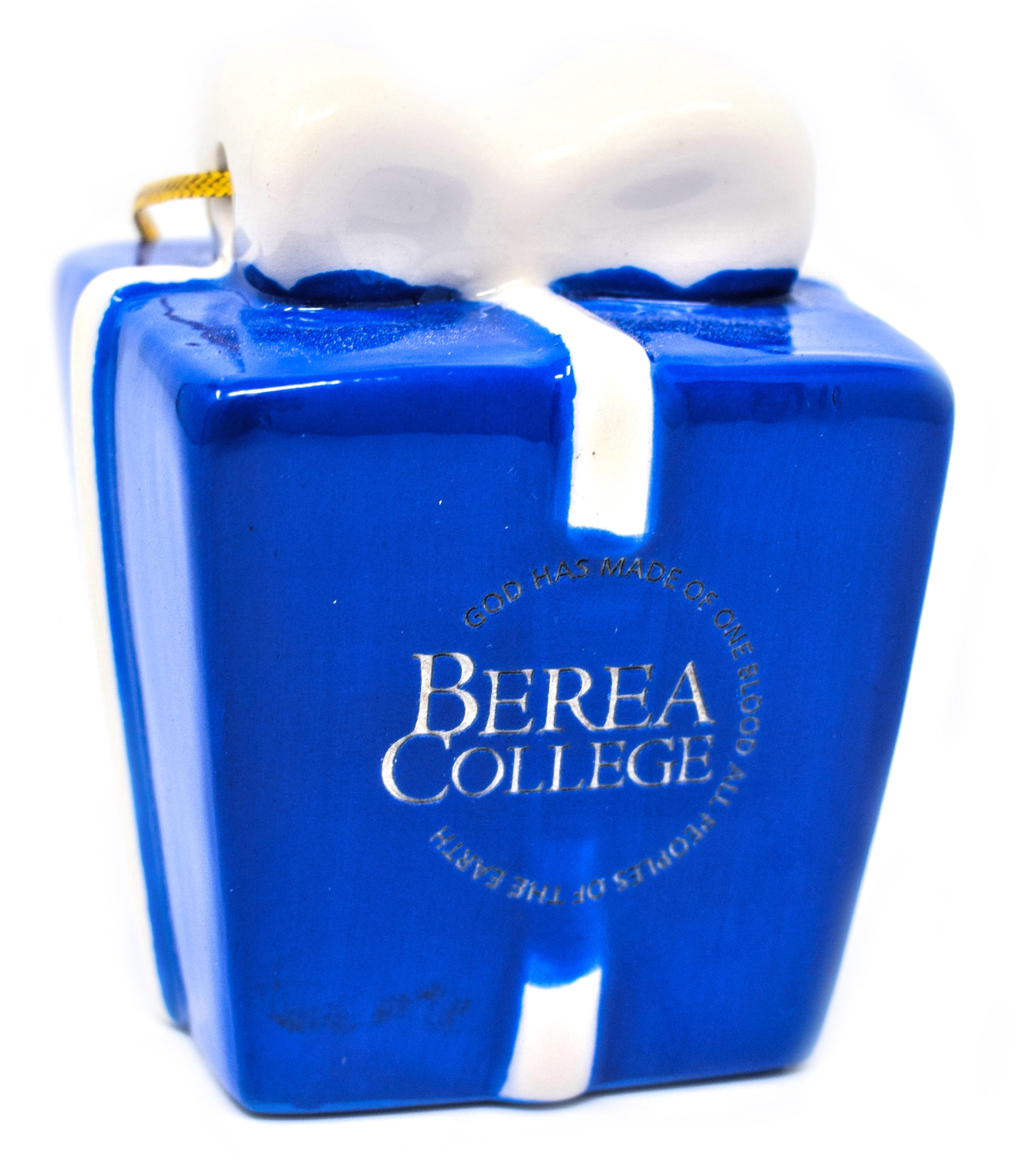 Ceramic Blue and White Berea Present Ornament-1