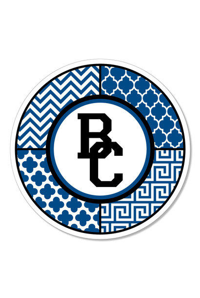 BC logo with mixed pattern circle Dizzler Sticker