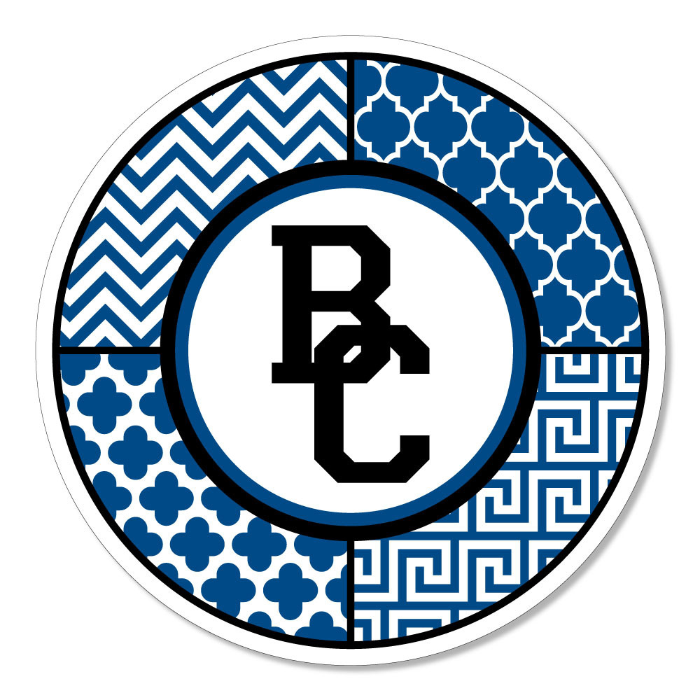 BC logo with mixed pattern circle Dizzler Sticker-1