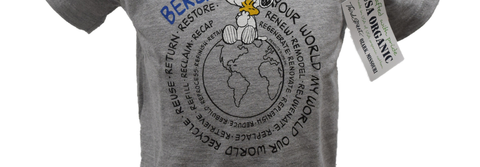 Gray Snoopy Earth Children's T-Shirt