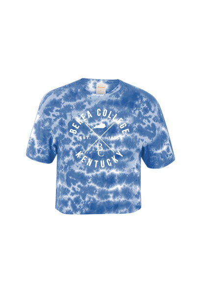 Blue Crinkle Tie Dye Crop T-Shirt