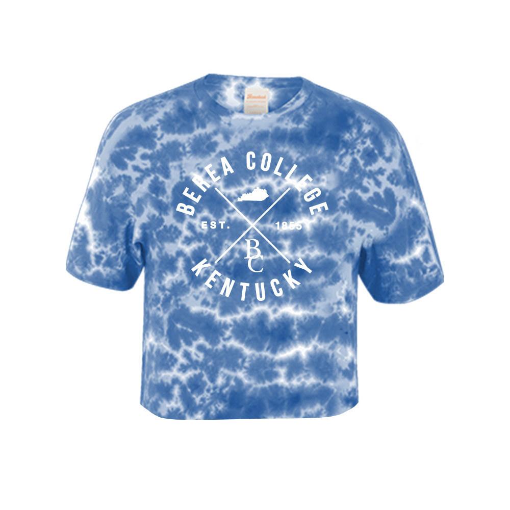Blue Crinkle Tie Dye Crop T-Shirt-1