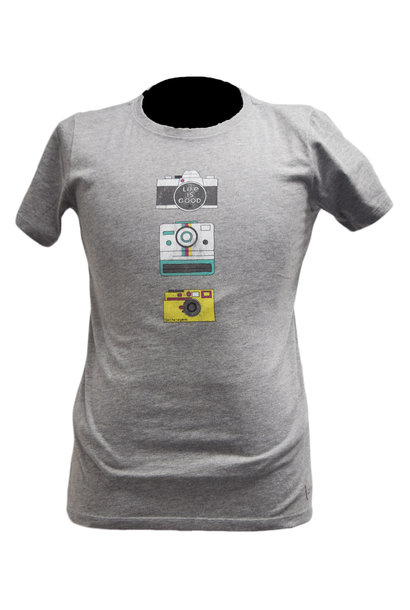 Heather Gray Camera T-Shirt Life Is Good