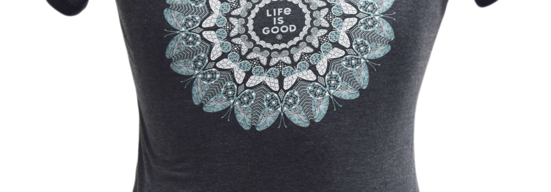 Butterfly Mandala Night Black T-Shirt  Life Is Good