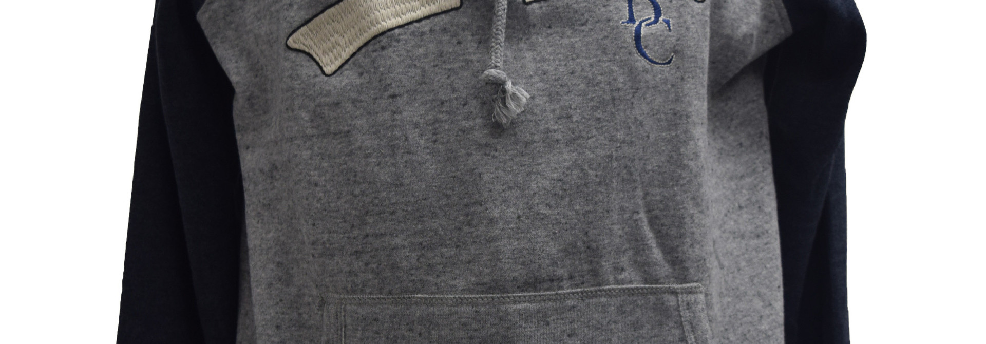 Gray  Hoodie with Navy Sleeves