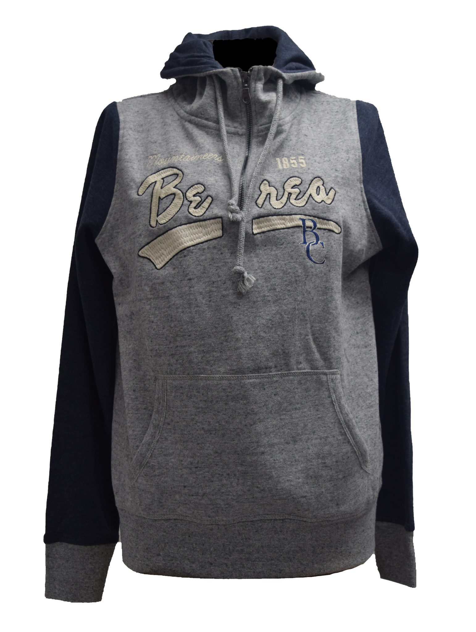 Gray  Hoodie with Navy Sleeves-1