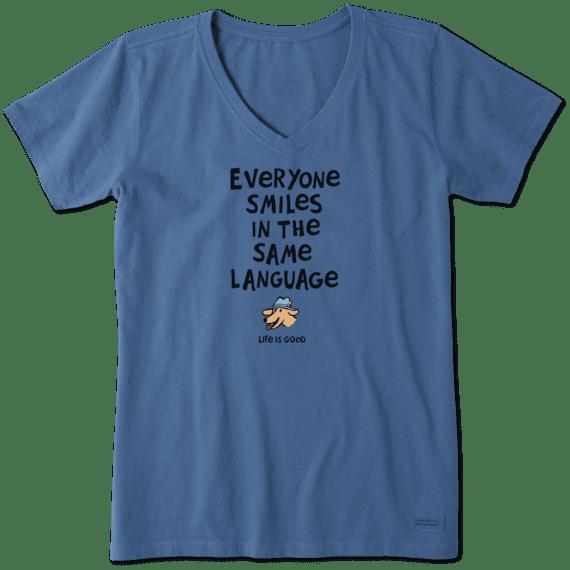 Everyone Smiles Crusher Vee Neck T-Shirt-1