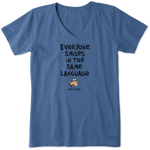 Everyone Smiles Crusher Vee Neck T-Shirt-2