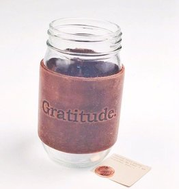Gratitude Brown Leather Mason Jar Sleeves