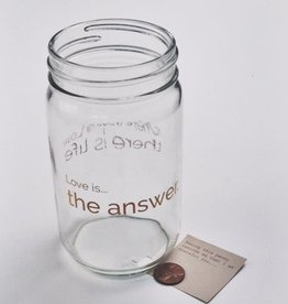 Love Is The Answer Clear Apothecary Jar With Gold Heart