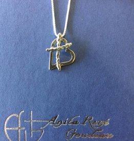 "Anita Goudeau AG1006 Cross My Heart Medium Necklace SS 20"" Box Chain"