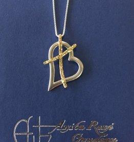 """AG1002 Cross my Heart Medium Necklace(G/S)-24"""" Box Chain"""