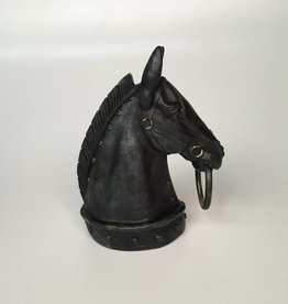 Black Horse Head Statue With Ring in Mouth
