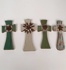 Multiple Colored Small Wooden Crosses with Floral Accent