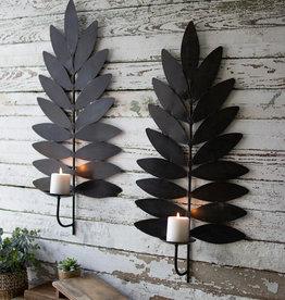 KALALOU Iron Leaf Candle Sconces