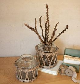 Kalalou Wicker Wrapped Glass Vases-